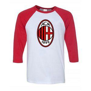 Youth Kids AC Milan Soccer Logo Baseball Tee
